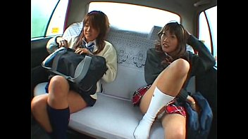 Asian two schoolgirl and taxi driver making sex in the car