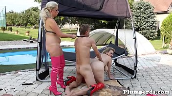 Chubby dominas whipping sub in outdoor trio