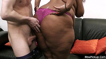 Chocolate bbw enjoys riding white meat