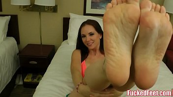 Hot Busty Red Head Jessica Rayne Gives Soft Footjob for Cum!
