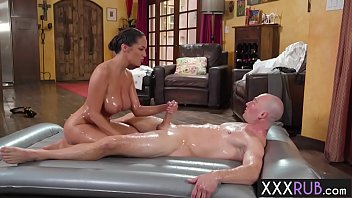 Busty MILFs oiled body satisfied a big cock client