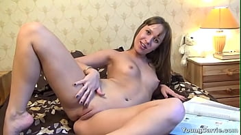 Tiny Young Carrie strokes her little pussy