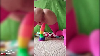 Woman Jumping on Rainbow Dildo and Playing with Butt Plug