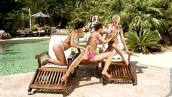 Fisting action in Poolside Frolick with Klada Nevena and Melanie 25 min