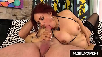 Redhead Mature Claudia Fox Takes a Hot Load in Her Mouth After Riding Cock