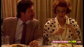 Vintage couple has a very nice exciting dinner together