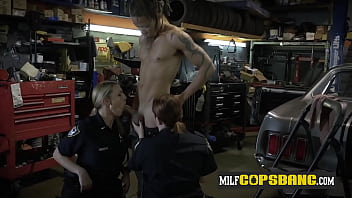 BUSTY horny white cop gets rimmed by BBC suspect