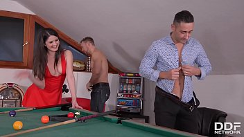 Horny Teen Francesca DiCaprio DP'ed On Pool Table