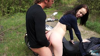 Girl in bikini on motorcycle Outdoors pussy drill for teen motorcycle rider
