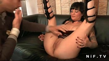 Big titted french milf hard double teamed
