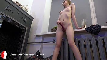Spex german toying her shaved pussy