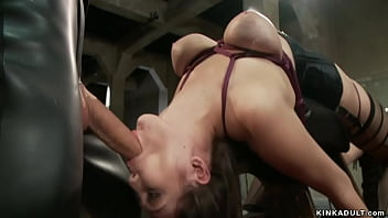 Busty trainee anal fucked in bondage