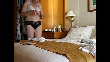 Granny Jenny undresses and removes her soiled incontinence pad from her knickers