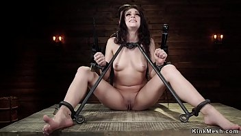 Bound slave gets ass double whipped