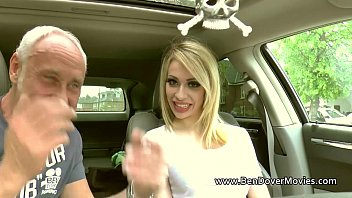 Chessie Kay with two older men rimming and gagging