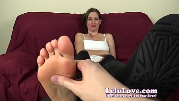 YOU tickle & rub hot girl's bare feet while she laughs & giggles - Lelu Love