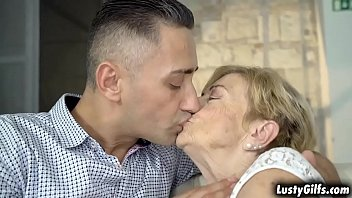 Blonde grandma Malya is a certified cock lover that enjoys fucking with her hot young stud Mugur.