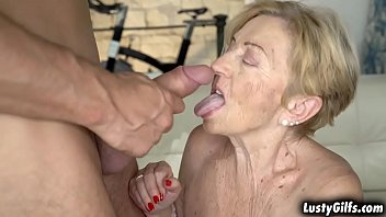 Blonde grandma Malya is a certified cock lover that enjoys fucking with her hot young stud Mugur. porn image