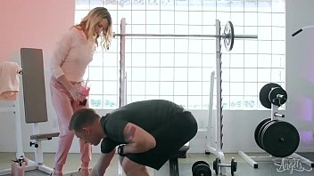 Small tit Blonde TS (Nikki Vicious) Sucks cock At The Gym - Transangels