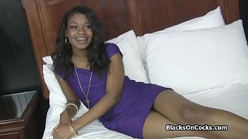 Banging pretty ebony teen amateur on audition
