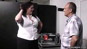 Brunette BBW gives head and titjob before cock riding