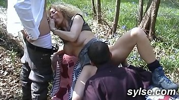 Gangbang dogging in forest and public orgy in pub between amateur sluts