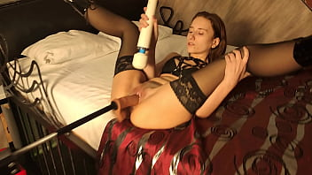 Russian girl with fucking machine bdsm solo orgazm