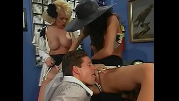 Two perfect blonde and brunette babes in sexy lingerie Dolly Golden and Lola take hard dick and toys in their twats at the office