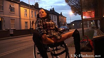 Wheelchair new adult Leah caprice flashing pussy in public from her wheelchair with handicapped engli