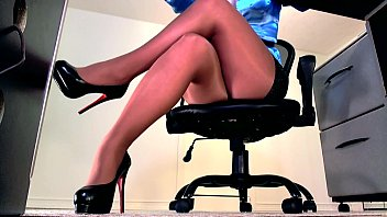 Sexy high heels sandles Sexy sheer pantyhose legs and high heel dangle