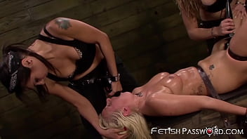 Submissive babe endures femdom with toys