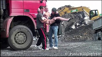 Amateur banging - Construction site public gangbang with a young pretty girl