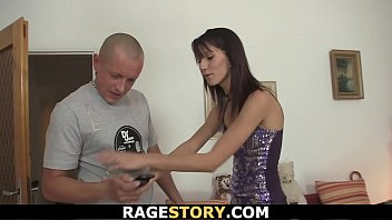 Brunette wife takes forced hardcore banging