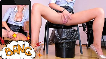 Naughty blonde employee rubs pussy and sprays juice in the garbage can | WATCH ME LIVE: katehaven.hotcams.com