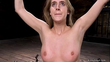 Shackled slave gets nipples suctioned