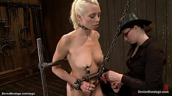 Two dykes tormented on device bondage