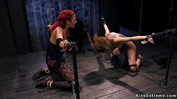 Ebony and brunette ride Sybians together