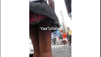 Young Black Girl - Windy Skirt - Times Square NYC