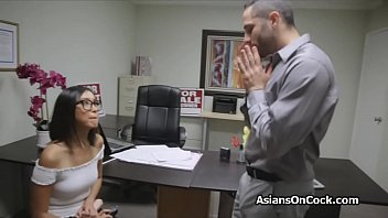 Asian chicks switches from dildo to cock on job interview