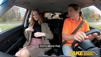 Fake Driving School Hot British Redhead Lenina Crowne Sex in a Car