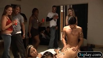 Sexy babes pounded while others watches