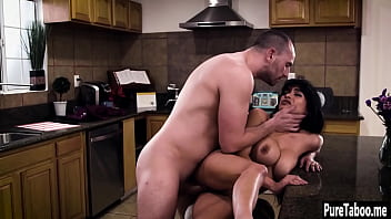 Dangerous house owner used sexy big tits latina maid