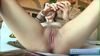 Horny brunette amateur cutie Brielle rub her clit and fuck her pussy with sex toy
