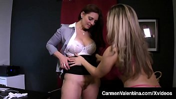Petite Carmen Valentina Has Office Fantasies With Mindi Mink