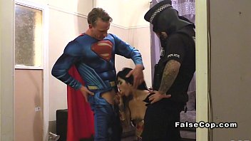Policeman fucks guy Masked fake cop and superman bang babe