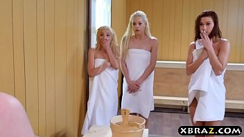 Three teen hotties share a hard monstercock in a sauna Thumb