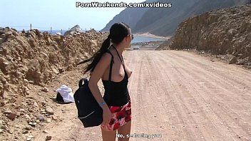 Crazy couple sex on deserted road