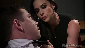 Voluptuous mistress in sexy lingerie pegging a guy