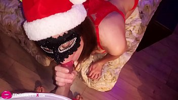 Babe in Lingerie Sensual Blowjob Cock Santa Claus - RolePlay