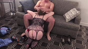 HotWife Amber - BJ, 69 and Fuck in Black Fishnet Stockings